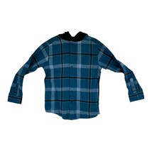 Wonder Nation Mens Blue Long Sleeve Plaid Hooded Flannel Shirt - $14.99