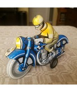 Ballon Cordatic Blue 1960's Vintage Toy Friction Litho Tin Motorcycle & ... - $28.05