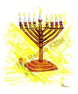 Gold Hannukah Menorah Rose Judaica 5 x 7  Art Print Kat-Renee Kittel no VAT - $7.00