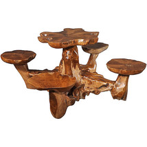 Fantastic Teak Wood Table with Connected Stools - $1,995.00