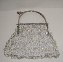 Bakana EVENING BAG Beaded Bag Stunning White Iridescent Beads - $9.49