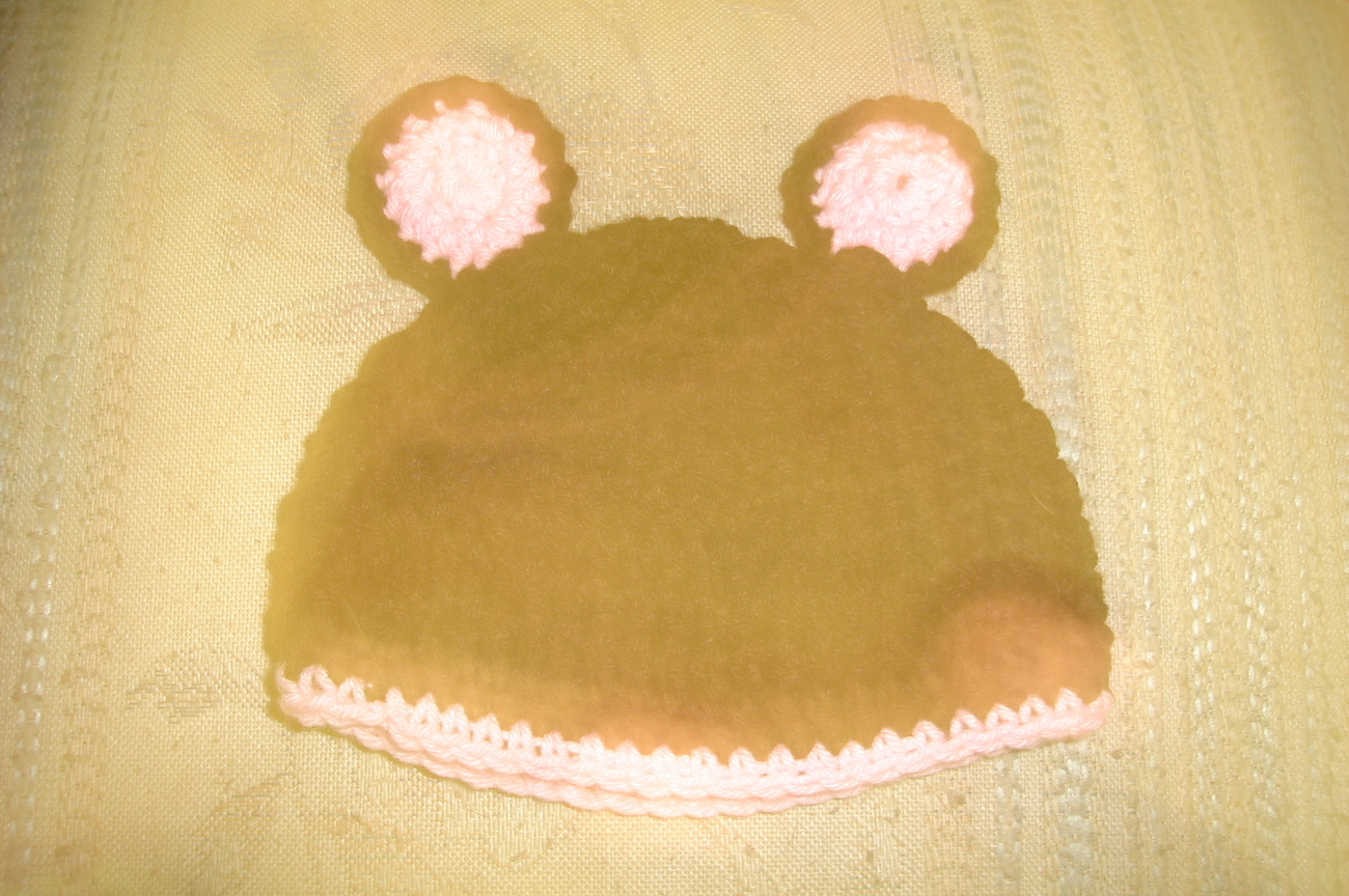 Hand crocheted teddy bear infant/newborn hat/photography prop