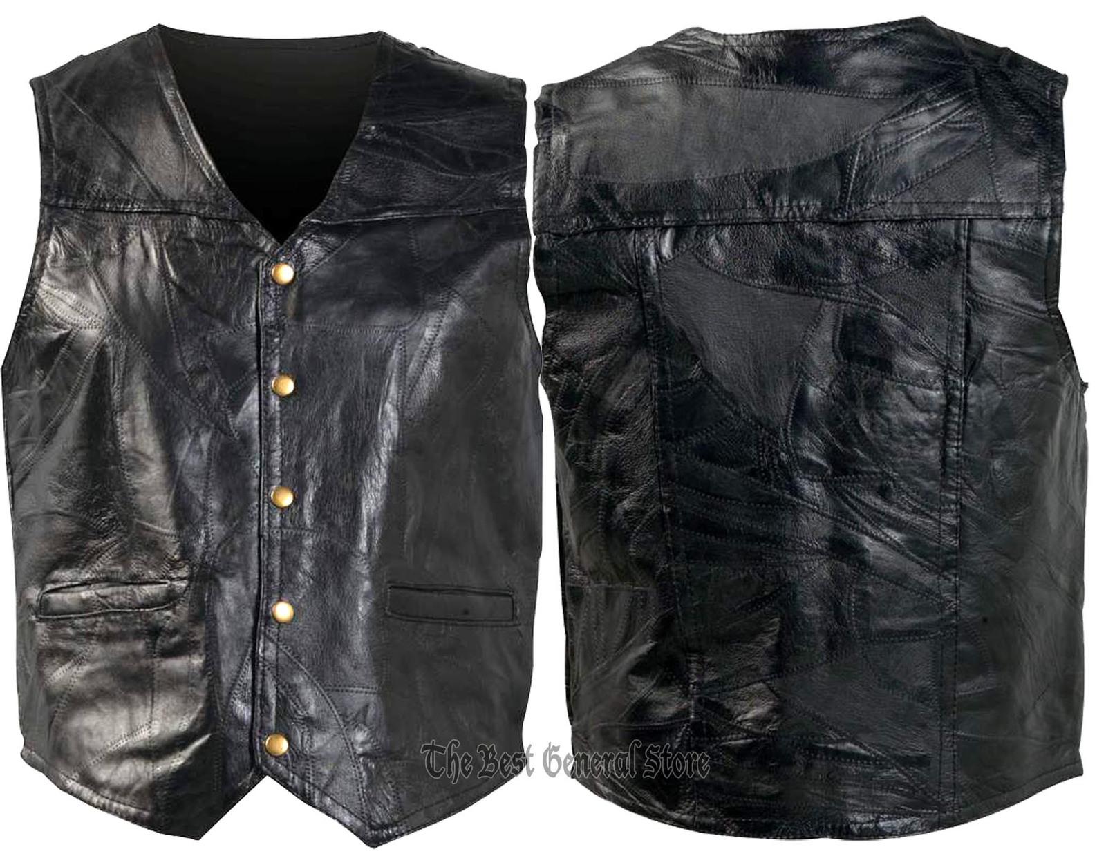 Mens black leather vest combo gfvs 1800