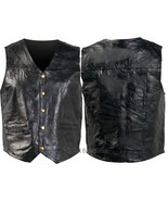 Mens Black Genuine Leather Lined Vest 5 Snap Front 2 Watch Pockets - $18.90+