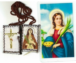 Laminated Prayer Card with Scapular Santa Lucia - L161.0242