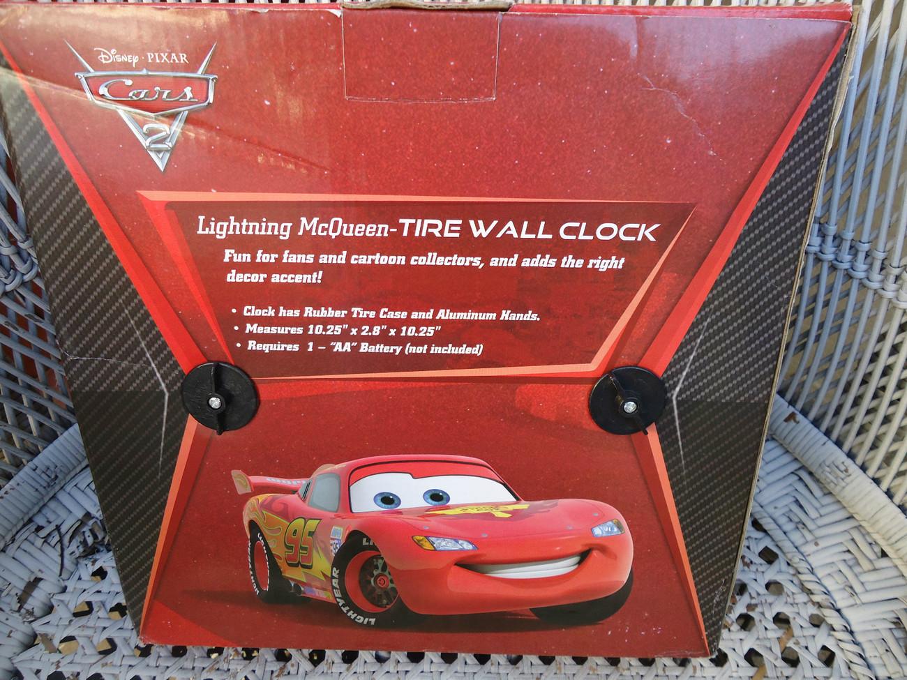 Disney Pixar Cars 2 Tire Lightning McQueen Wall Clock Collectible