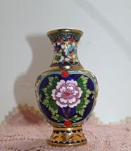 Vintage Enamel Brass Cloisonne Bud Vase, Floral... - $15.50