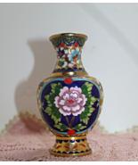 Vintage Enamel Brass Cloisonne Bud Vase, Floral, Mid Century Asian Decor - $13.00