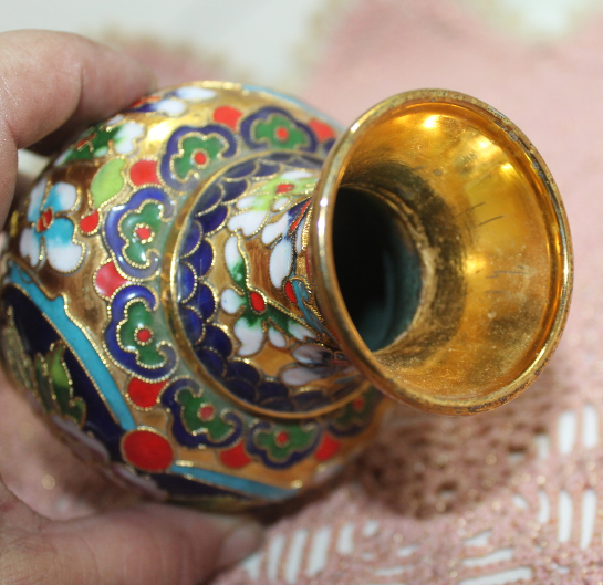 Vintage Enamel Brass Cloisonne Bud Vase, Floral, Mid Century Asian Decor