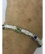 Vintage Peridot Amethyst Bracelet 925 Sterling Silver Rhodium Deco - $154.45