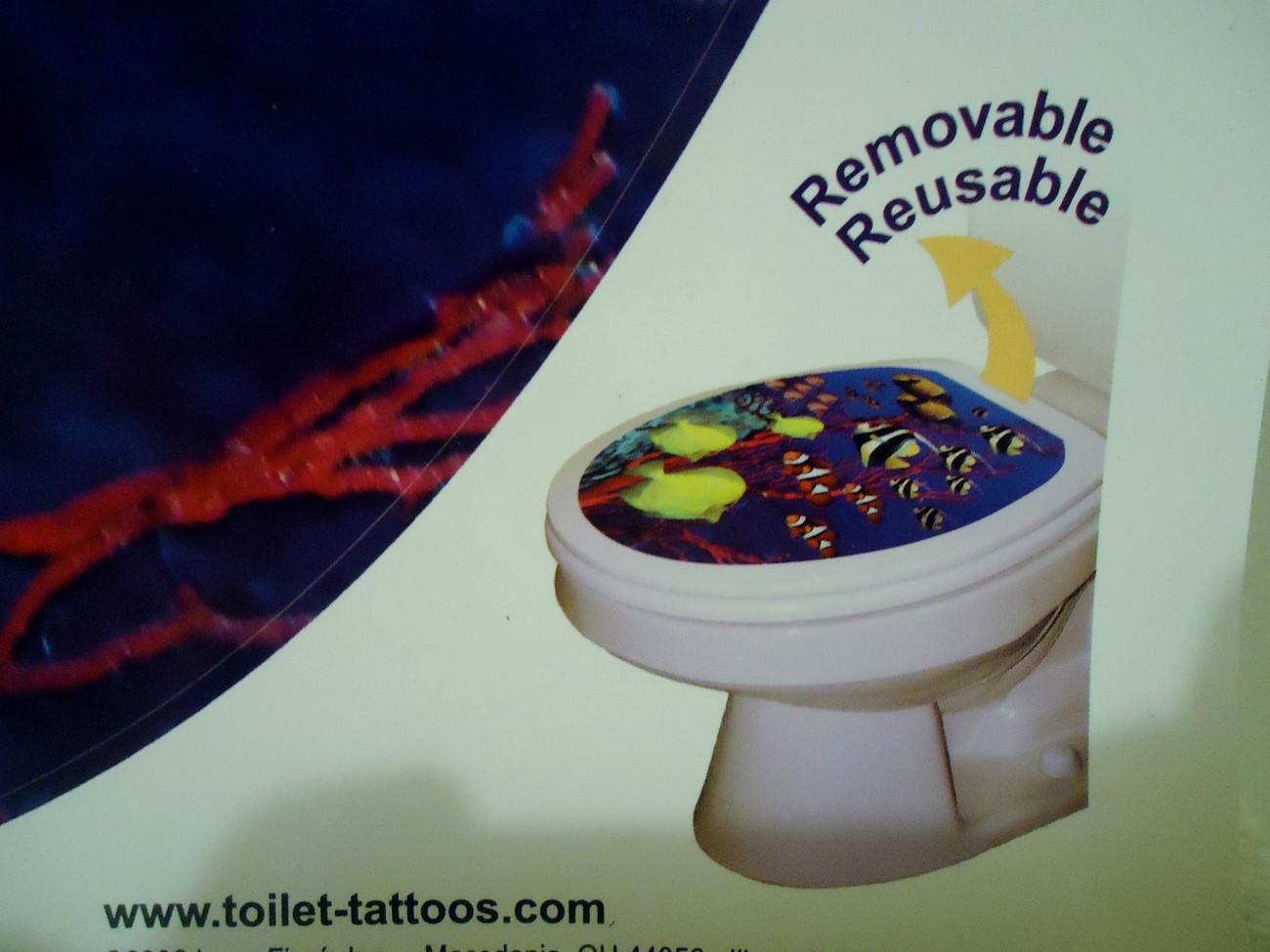Fish Toilet Tattoo Vinyl Peel and Stick  Fits Elongated seats