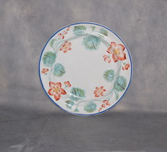 Antique English Pottery Pearlware Pink Flower Green Leaf Blue Rim Dinner Plate - $195.00