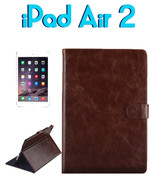 Apple iPad Air 2 Cowhide Texture Flip Leather Case with Holder & Card Sl... - $22.17