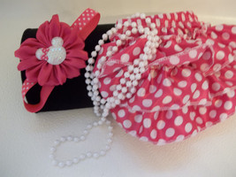 Baby Girl Small Pink Polka Dot Minnie Mouse Bloomers, Headband, Pearls - $16.00