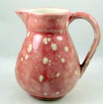 Vintage hand made pink speckled spotted ceramic creamer pitcher vase - $10.00