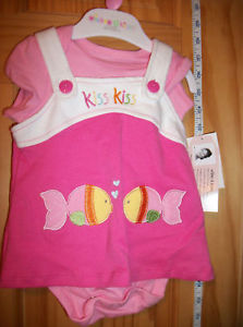 Fashion Gift Wishes Kisses Baby Clothes 0M-3M Dress Set Pink Two Kiss Sea Life
