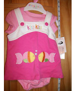 Fashion Gift Wishes Kisses Baby Clothes 0M-3M Dress Set Pink Two Kiss Se... - $7.59