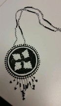 Native American Type Beaded Necklace Indian Black and White Jewelry Acce... - $59.39