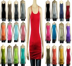 Basic Long SPAGHETTI TANK TOP Adjust Strap Plain Layering Cami Tunic Top... - $4.99