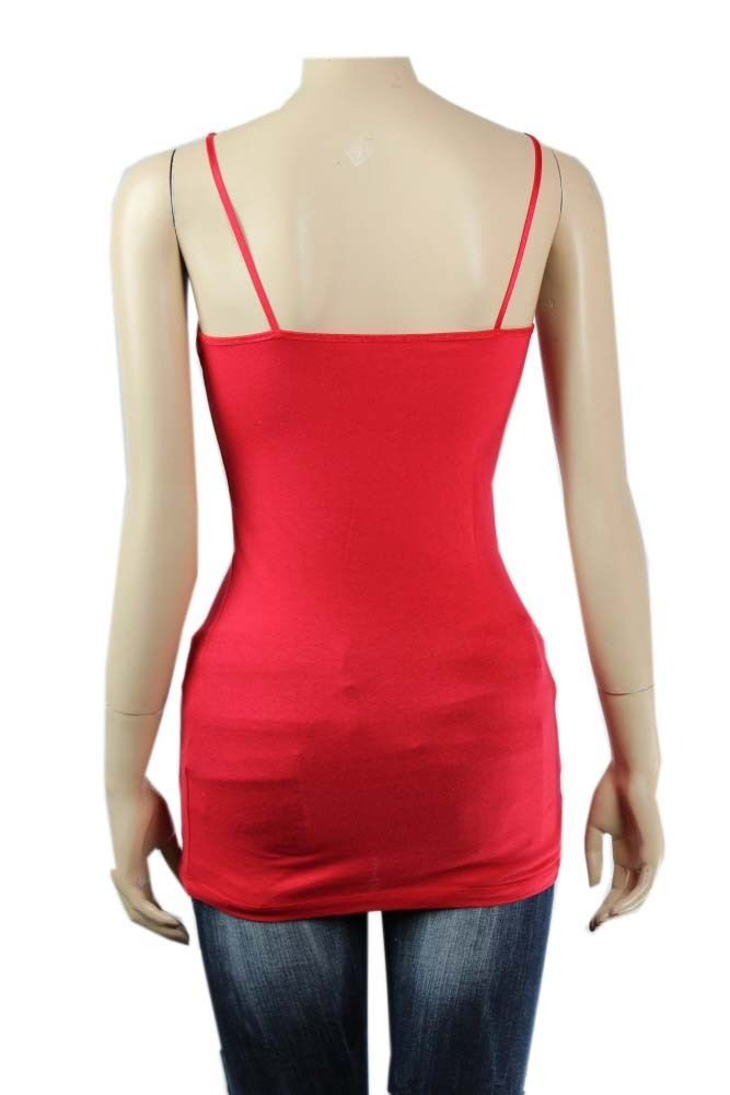 Basic Long SPAGHETTI TANK TOP Adjust Strap Plain Layering Cami Tunic Top SML