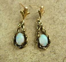 Genuine Opal GOLD earrings Dangle drop pierced 10kt Eye stone Cupid stone  - $225.00