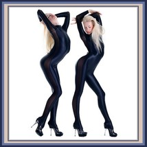 Wet Look Navy Long Sleeve Zip Up Back Mesh Net Side Stretch Lycra Body Catsuit