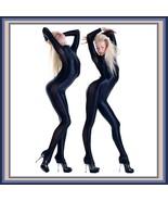 Wet Look Navy Long Sleeve Zip Up Back Mesh Net Side Stretch Lycra Body C... - $99.95