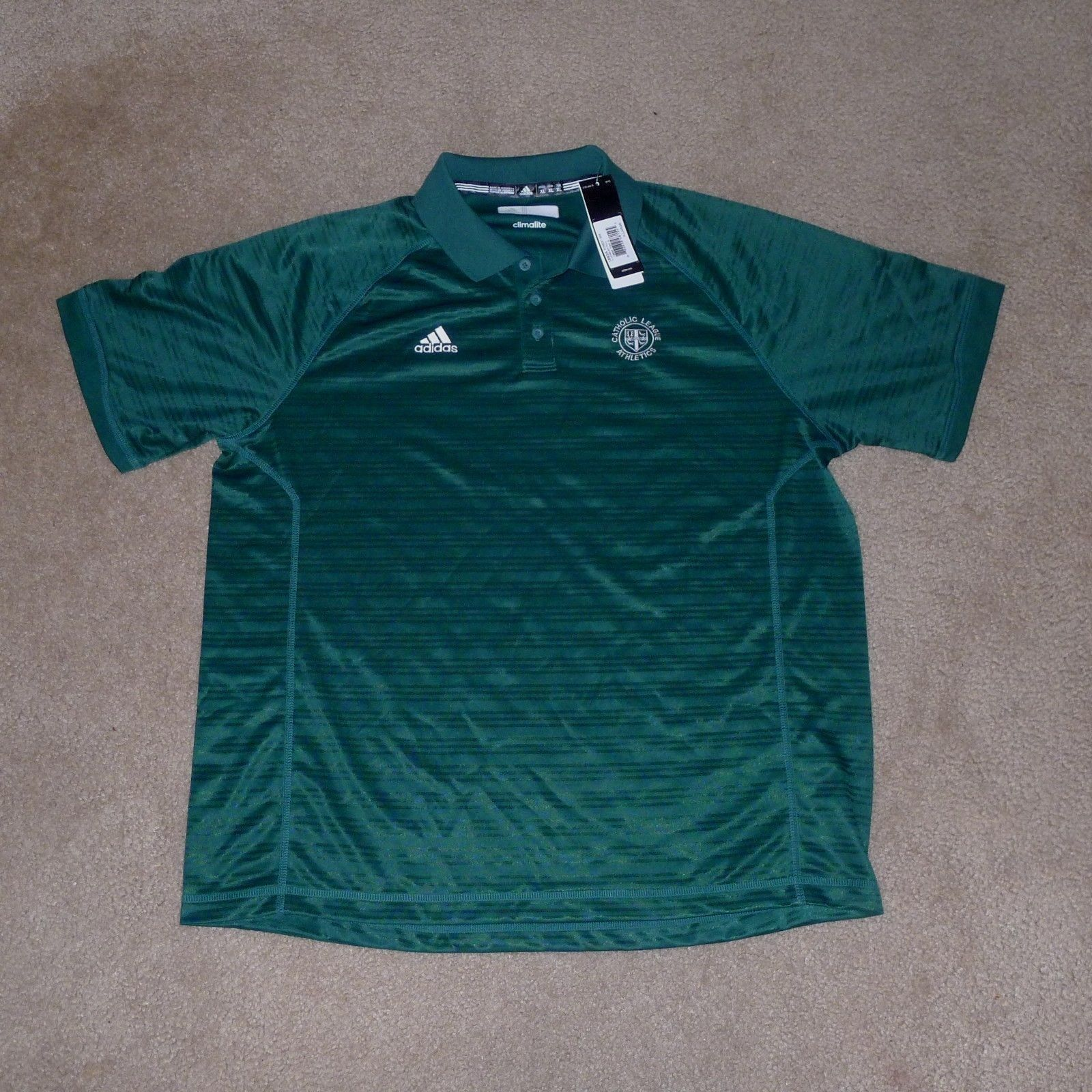 Adidas Clima Lite, Catholic League Athletics Polo Shirt, Green, Large , NWT