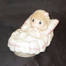 Baby Girl Precious Moments Baptized In His Name Figurine Bassinet Pink NWOB - $43.55