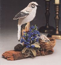 Plastic Canvas Mockingbird Bluebonnet Sculptured Bird Pattern - $9.99