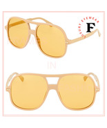 GUCCI 0706 Ivory Yellow Mirrored Oversized Unisex Retro Sunglasses GG070... - $274.73