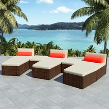 vidaXL Outdoor Modular Sofa Set 22 Piece Wicker Poly Rattan Brown Sun Lounger - $585.99
