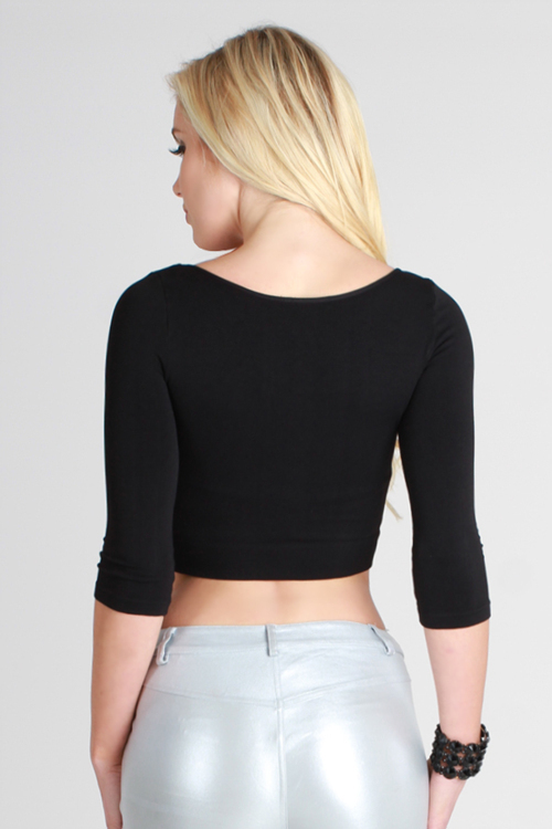 High Quality Seamless Half Sleeve Crop Top in Charcoal One Size Fits Most