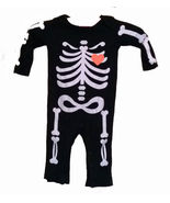 GIRLS SKELETON WITH PINK HEART ROMPERS BODY SUIT SIZE 6 TO 9 MONTHS - $4.00
