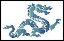 Blue Green Dragon cross stitch chart Artecy Cross Stitch Chart - $7.20