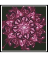 Pink Abstract Flower cross stitch chart Artecy Cross Stitch Chart - $14.40
