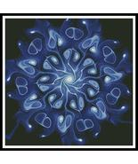 Blue Abstract Flower cross stitch chart Artecy Cross Stitch Chart - $14.40