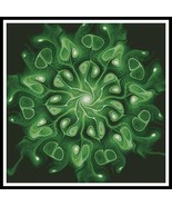 Green Abstract Flower cross stitch chart Artecy Cross Stitch Chart - $14.40
