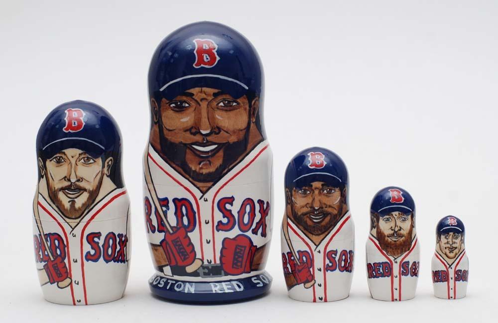 """Boston red sox nesting doll matryoshka, babushka doll 5 pc, 6"""""""