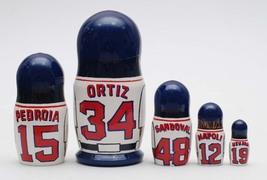 """Boston red sox nesting doll matryoshka, babushka doll 5 pc, 6"""" image 2"""