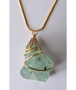Chunky Coke Bottle Green Bonfire Sea Glass 14k Gold Wire Wrap Necklace #4 - $17.00