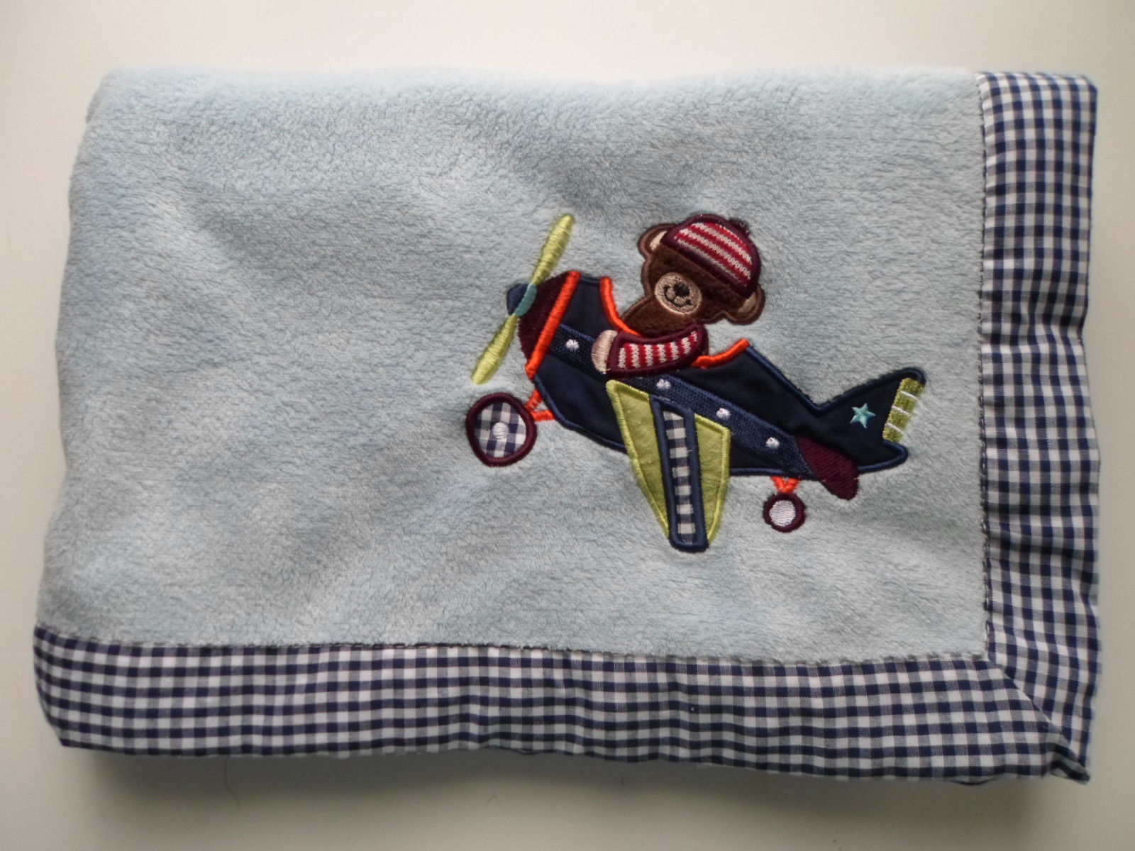 Lambs &  Ivy Bear in an Airplane Baby Blanket  Blue check trim - $39.15