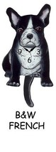 Pink Cloud Black & White French Bulldog Puppy Dog Pendulum Wall Clock - $41.99