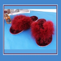 Soft Fuzzy Wine Ostrich Feather Sheepskin Thong Slippers
