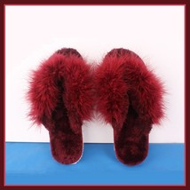 Soft Fuzzy Wine Ostrich Feather Sheepskin Thong Slippers image 2