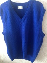NWOT VTG Bennetton Blue 100% Wool Sweater Vest SZ XL Made in Italy - $74.25