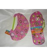 Darice Pink Flower Print Visor Hat And Sandals Sz. 8.5 - $5.00