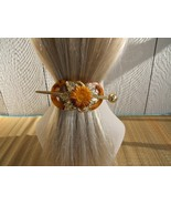 Vintage Amber Sunflower  French Clasp Barrette - $5.00