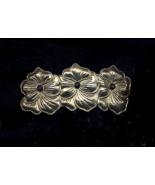 Gunmetal Floral Stamped Vintage Barrette - $5.00