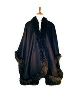 Cape, Baby Alpaca wool and fur trimming wrap,outerwear - $682.00